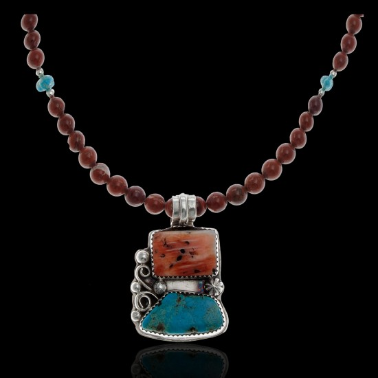 Navajo Artist Charlene Little Sterling Silver 925 Spiny Oyster Heishi Shell Natural Turquoise Stone Necklace Native American Tag 330 USD New