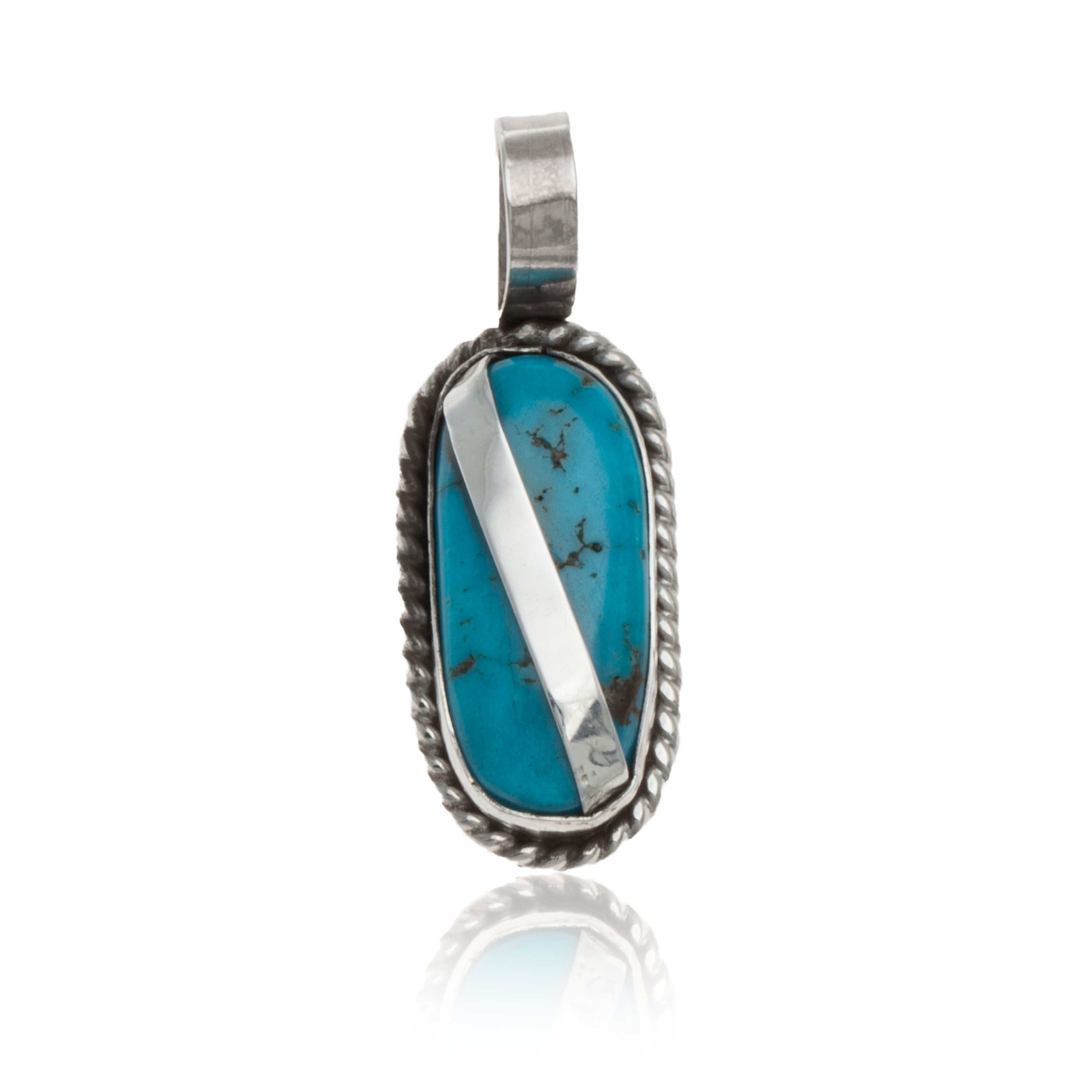 Handmade Certified Authentic Navajo .925 Sterling Silver Natural Turquoise Native American Pendant 12674-100 All Products NB160428214531 12674-100 (by LomaSiiva)