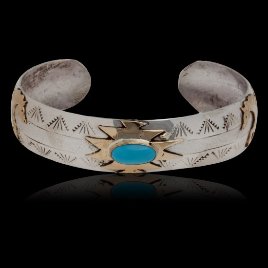 12kt Gold Filled and .925 Sterling Silver Handmade Bear Paw Certified Authentic Navajo Turquoise Native American Bracelet 390770994832 All Products 12587-2 390770994832 (by LomaSiiva)