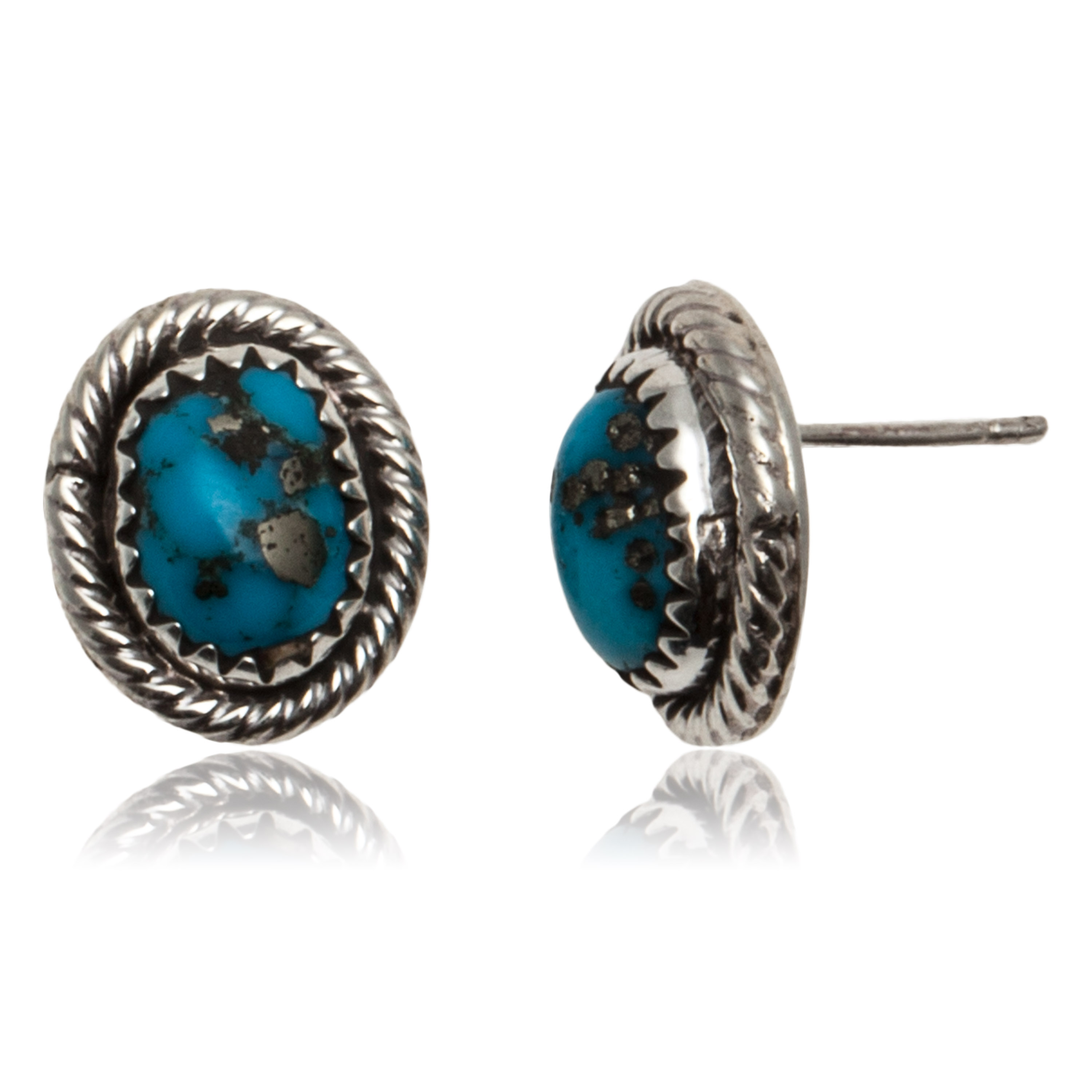 Natural Turquoise .925 Sterling Silver Certified Authentic Navajo Native American Stud Earrings 24391-99