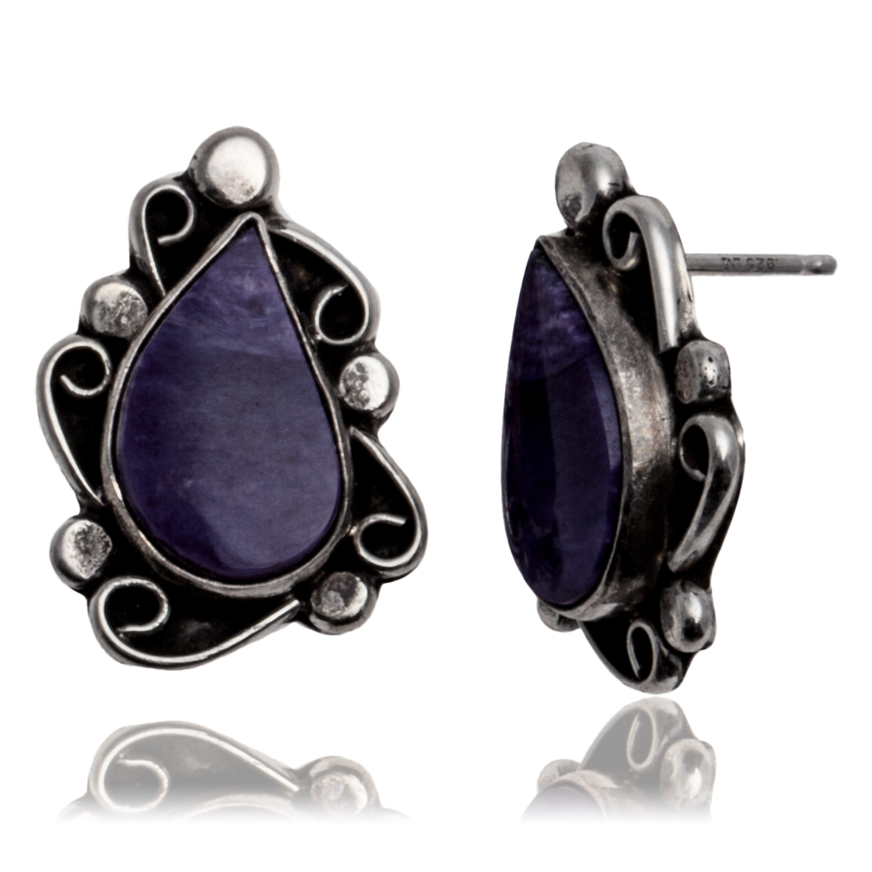 Sugulite .925 Sterling Silver Certified Authentic Navajo Native American Stud Earrings 27278