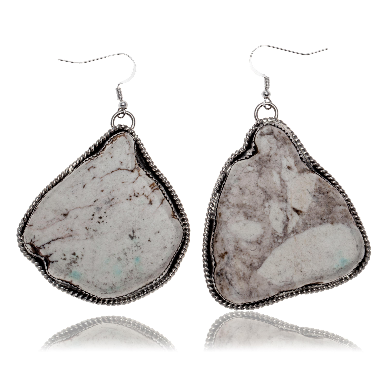 Huge White Howlite .925 Sterling Silver Certified Authentic Navajo Native American Dangle Earrings 27280