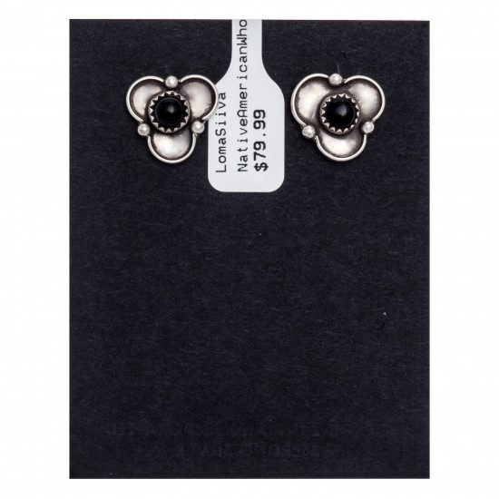 Black Onyx .925 Sterling Silver Certified Authentic Navajo Native American Stud Earrings 27244