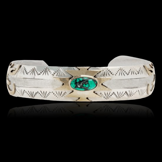 12kt Gold Filled and .925 Sterling Silver Certified Authentic Eagle head Handmade Navajo Natural Turquoise Native American Bracelet 13096 All Products NB160228001033 13096 (by LomaSiiva)