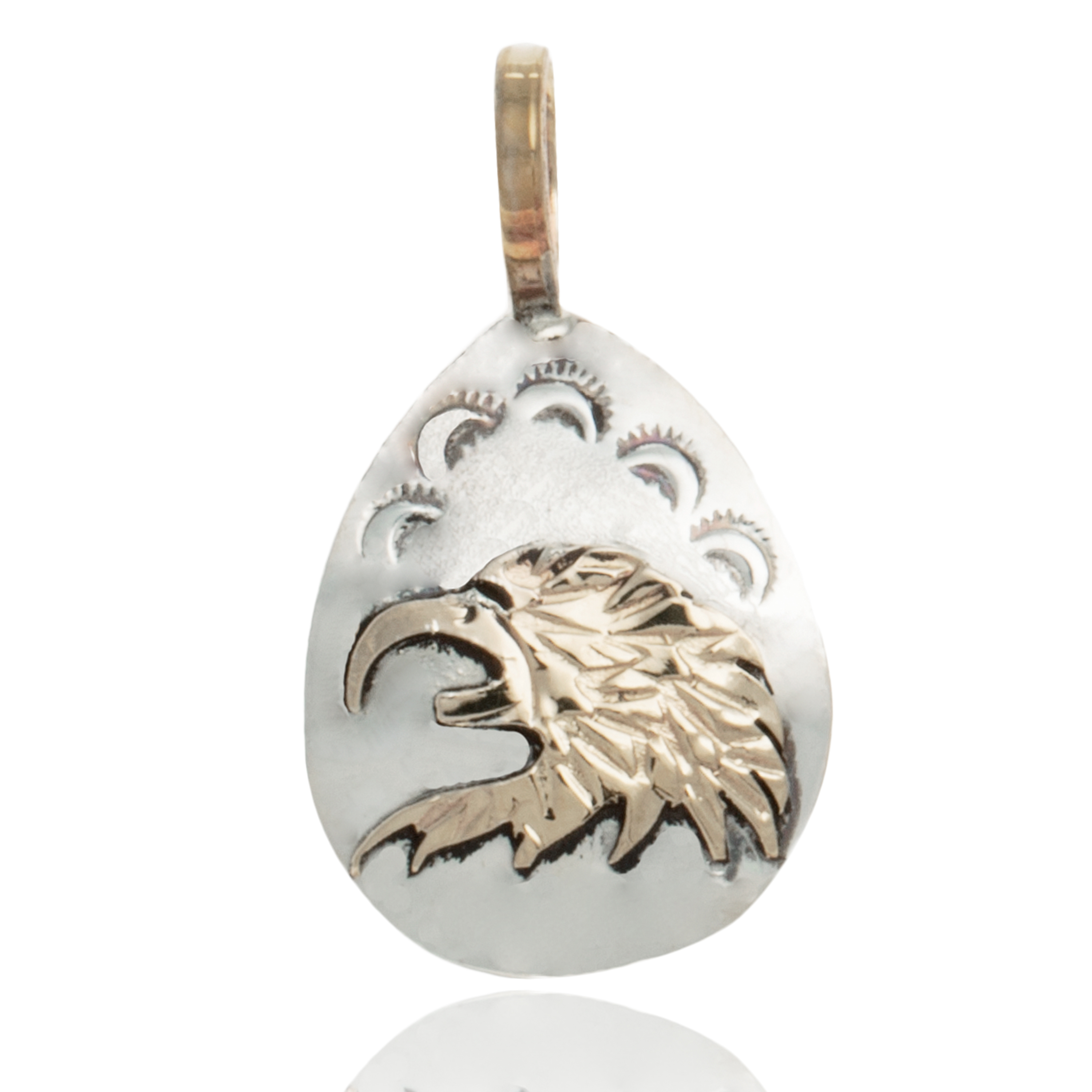 12kt Gold Filled and .925 Sterling Silver Eagle Head Handmade Certified Authentic Navajo Native American Pendant 24476 All Products NB151219025514 24476 (by LomaSiiva)