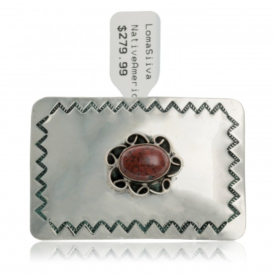 Certified Authentic Handmade Navajo Nickel Natural Red Jasper Native American Buckle 1217-4 All Products NB160406090142 1217-4 (by LomaSiiva)