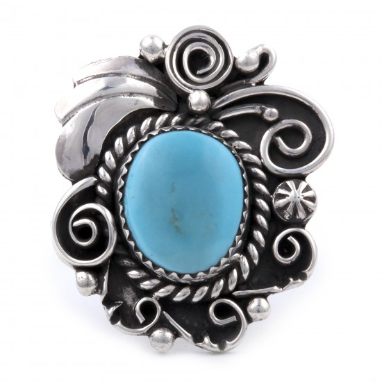 .925 Sterling Silver Flower Certified Authentic Handmade Navajo Native American Natural Turquoise Ring  13225 All Products NB180527003547 13225 (by LomaSiiva)