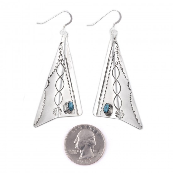 Sun .925 Sterling Silver Certified Authentic Handmade Navajo Native American Natural Turquoise Large Dangle Earrings 27256 All Products NB180524225526 27256 (by LomaSiiva)
