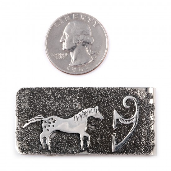 Horse .925 Sterling Silver Ray Begay Certified Authentic Handmade Navajo Native American Money Clip  13194-18 All Products NB180527024928 13194-18 (by LomaSiiva)