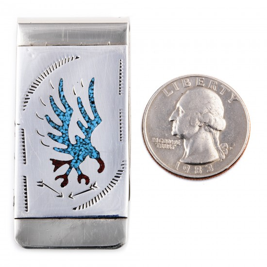 Eagle .925 Sterling Silver Ray Begay Certified Authentic Handmade Navajo Native American Natural Turquoise Coral Money Clip 11253-8 All Products NB180528231130 11253-8 (by LomaSiiva)