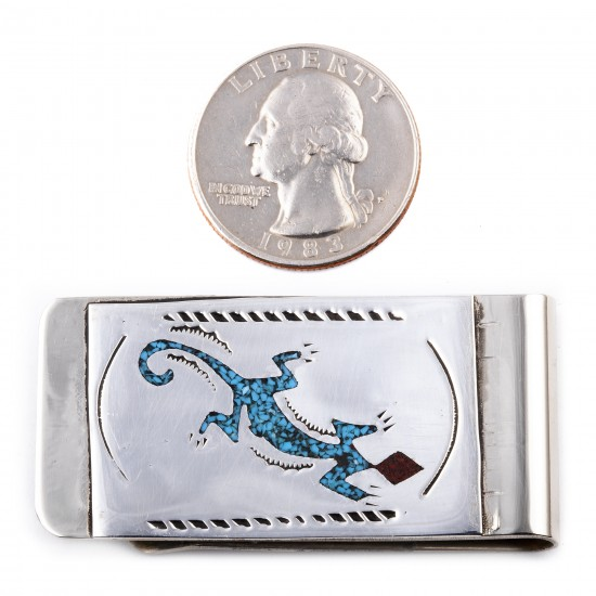 Lizard .925 Sterling Silver Ray Begay Certified Authentic Handmade Navajo Native American Natural Turquoise Coral Money Clip 11253-7 All Products NB180528230452 11253-7 (by LomaSiiva)