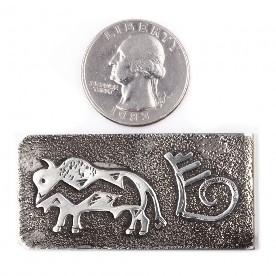 Buffalo .925 Sterling Silver Ray Begay Certified Authentic Handmade Navajo Native American Money Clip  13194-19 All Products NB180518220944 13194-19 (by LomaSiiva)