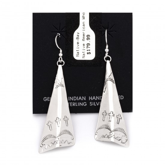 Cross Sun Mountain .925 Starling Silver Certified Authentic Handmade Navajo Native American Earrings  27265-7 All Products NB180607034126 27265-7 (by LomaSiiva)
