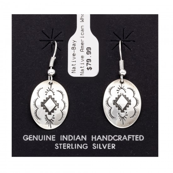 Sun Diamond .925 Starling Silver Certified Authentic Handmade Navajo Native American Earrings  27260-1 All Products NB180607034137 27260-1 (by LomaSiiva)