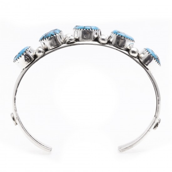 .925 Starling Silver Certified Authentic Handmade Navajo Native American Natural Turquoise Cuff Bracelet 12715 All Products 12715 12715 (by LomaSiiva)