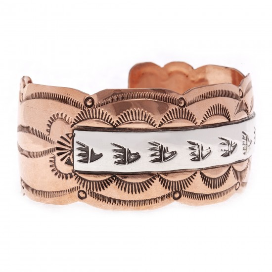 Sun Bear Paw .925 Sterling Silver Copper Certified Authentic Handmade Navajo Native American Bracelet 24546-1 All Products NB180518192929 24546-1 (by LomaSiiva)