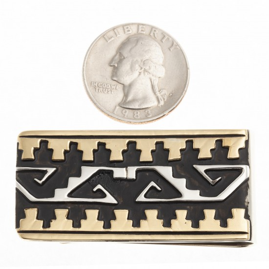 Water Wave Cloud 12kt Gold Filled .925 Sterling Silver Certified Authentic Handmade Navajo Native American Money Clip 24536-3 All Products NB180620173143 24536-3 (by LomaSiiva)