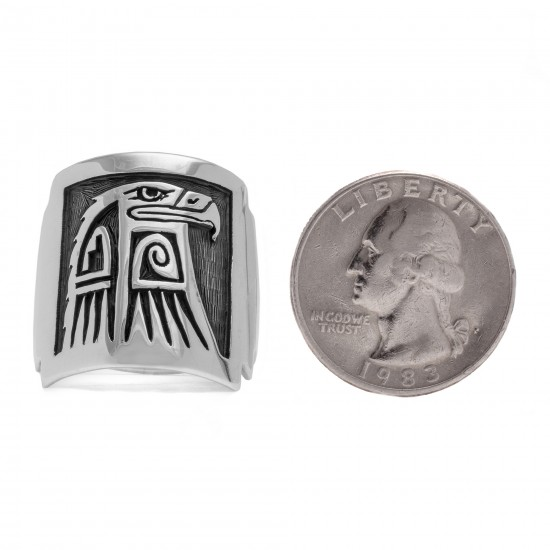 Eagle .925 Sterling Silver Certified Authentic Handmade Hopi Native American Ring 13230 All Products NB180623231241 13230 (by LomaSiiva)