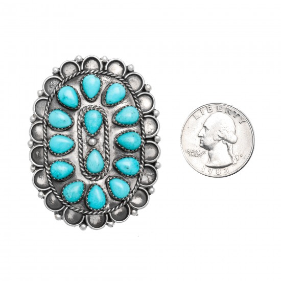 Drop .925 Sterling Silver Certified Authentic Handmade Petit Point Navajo Native American Natural Turquoise Ring  17008 All Products NB151127180942 17008 (by LomaSiiva)