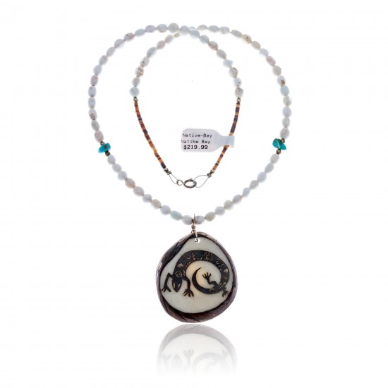 Lizard .925 Sterling Silver Certified Authentic Navajo Native American Turquoise White Howlite Necklace 11051-1 All Products NB1809262232253 11051-1 (by LomaSiiva)