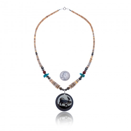 Elk .925 Sterling Silver Certified Authentic Navajo Native American Natural Turquoise Red Jasper Graduated Melon Shell Necklace 11051 All Products NB1809262232256 11051 (by LomaSiiva)