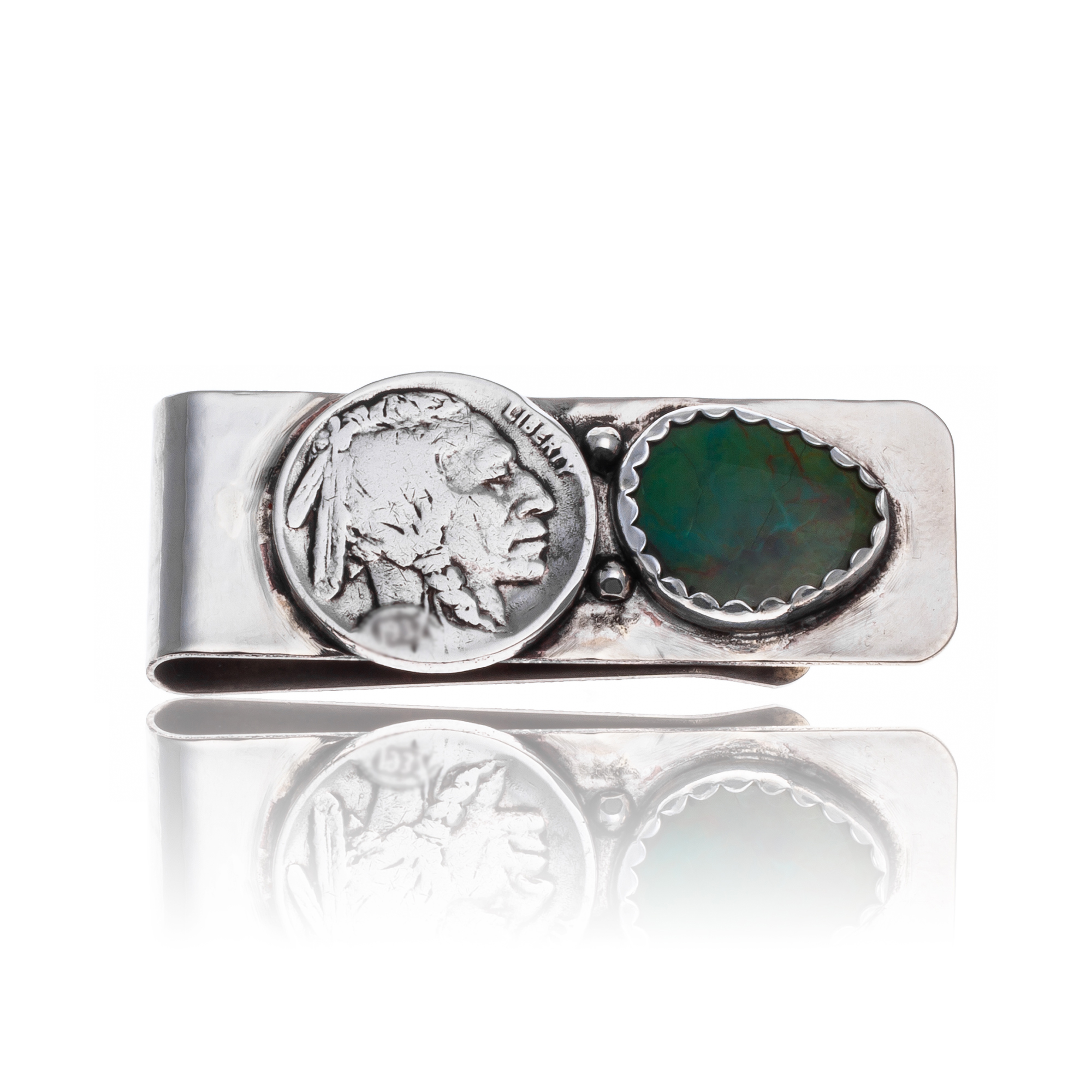 Natural Turquoise .925 Sterling Silver and Nickel Certified Authentic Navajo Native American Handmade Vintage Style Old Buffalo Coin Money Clip 11248-2 All Products 371190437901 11248-2 (by LomaSiiva)