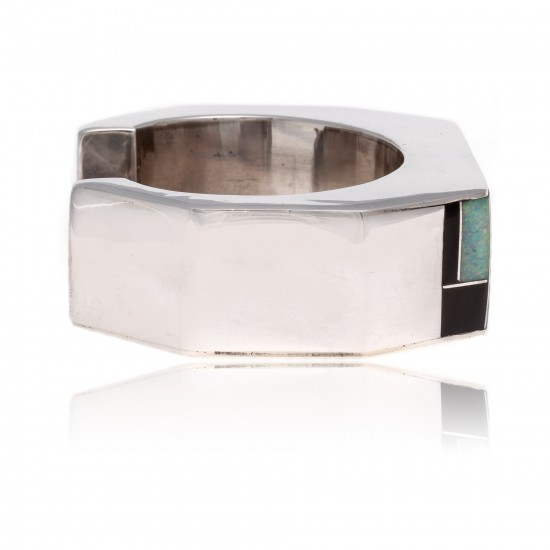 Inlay .925 Sterling Silver Certified Authentic Handmade Zuni Native American Opal and Black Onyx Cuff Bracelet 12469 All Products NB180925011018 12469 (by LomaSiiva)