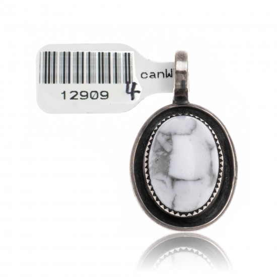 White Howlite .925 Sterling Silver Certified Authentic Navajo Native American Handmade Pendant 12909-4 Pendants NB151206004635 12909-4 (by LomaSiiva)