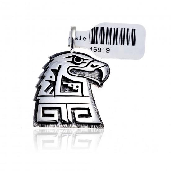 Eagle .925 Sterling Silver Certified Authentic Handmade Hopi Native American Pendant 15919 Pendants 371180683250 15919 (by LomaSiiva)