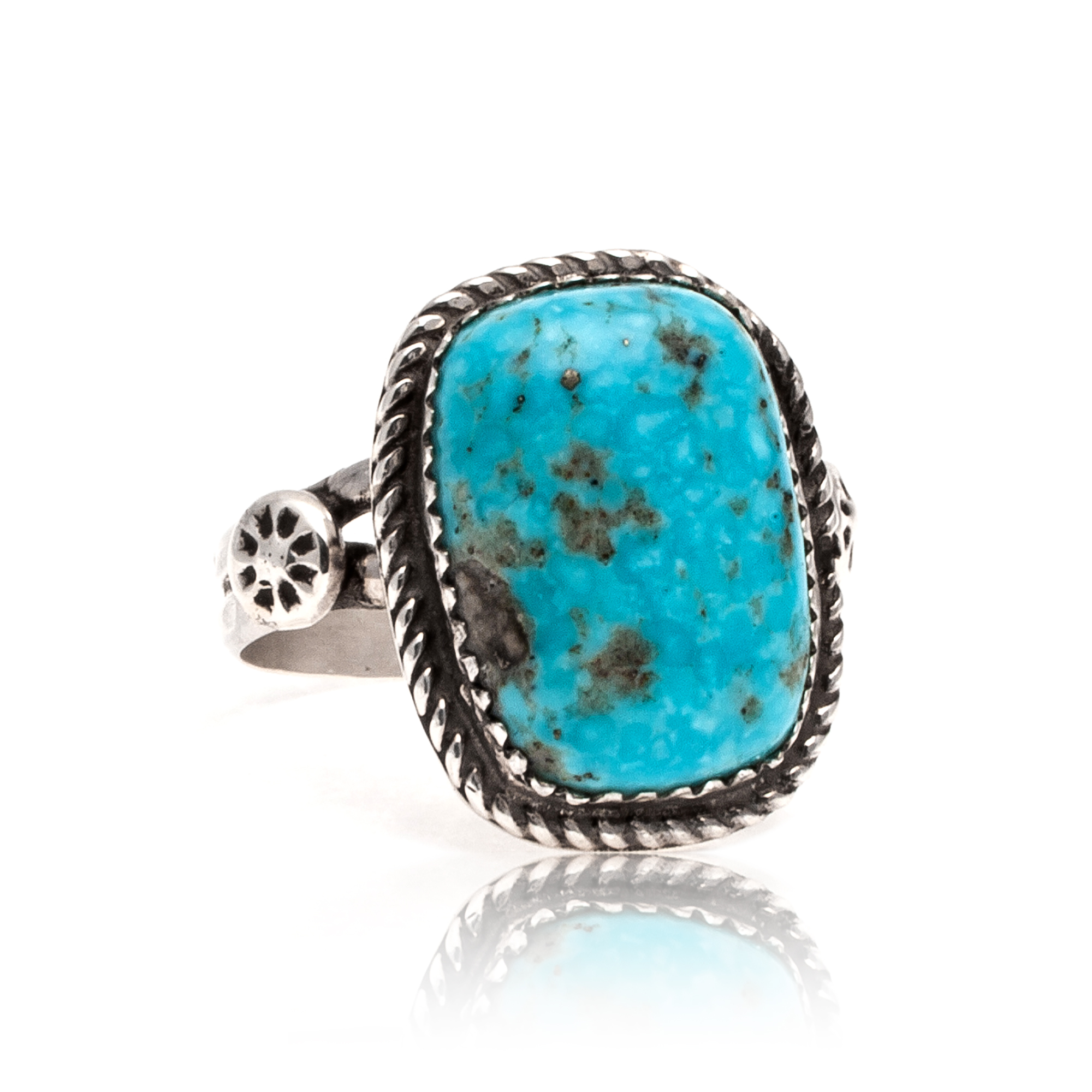 Natural Turquoise .925 Sterling Silver Certified Authentic Navajo Native American Handmade Ring  17001-1 All Products 17001-1 17001-1 (by LomaSiiva)