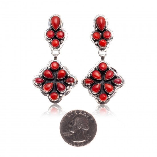 Coral .925 Starling Silver Certified Authentic Navajo Native American Handmade Post Earrings  18198-20 All Products NB181016201907 18198-20 (by LomaSiiva)