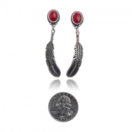Coral .925 Sterling Silver Certified Authentic Navajo Native American Handmade Feather Post Earrings  18315-91 All Products NB181016201913 18315-91 (by LomaSiiva)