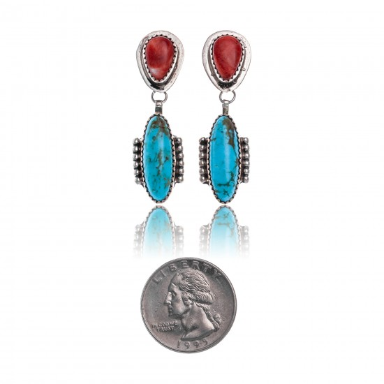 Natural Turquoise Spiny Oyster .925 Sterling Silver Certified Authentic Navajo Native American Handmade Post Earrings  18316-3 All Products NB181016201915 18316-3 (by LomaSiiva)