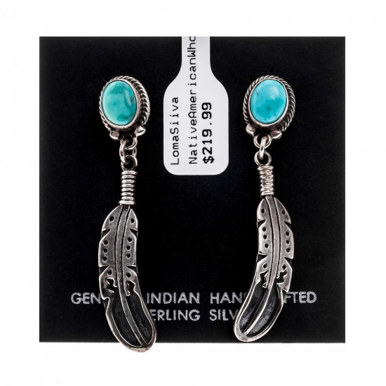 Natural Turquoise .925 Sterling Silver Certified Authentic Navajo Native American Handmade Feather Post Earrings  18317 All Products NB181016201914 18317 (by LomaSiiva)