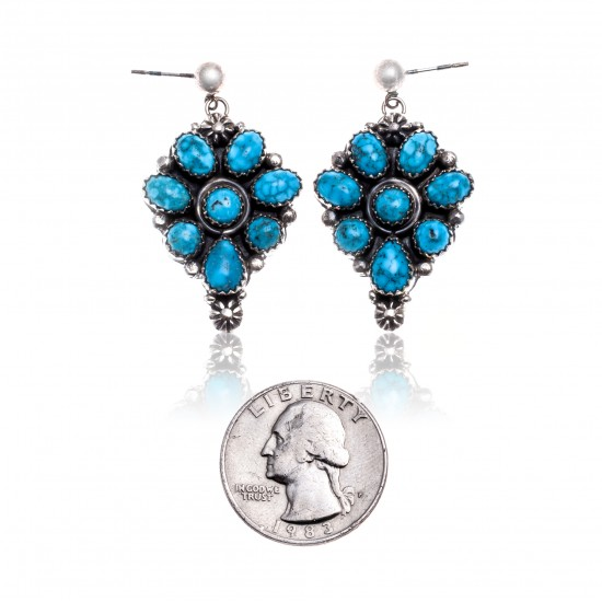 Natural Turquoise .925 Starling Silver Certified Authentic Navajo Native American Handmade Post Earrings  18318-40 All Products NB181016201908 18318-40 (by LomaSiiva)