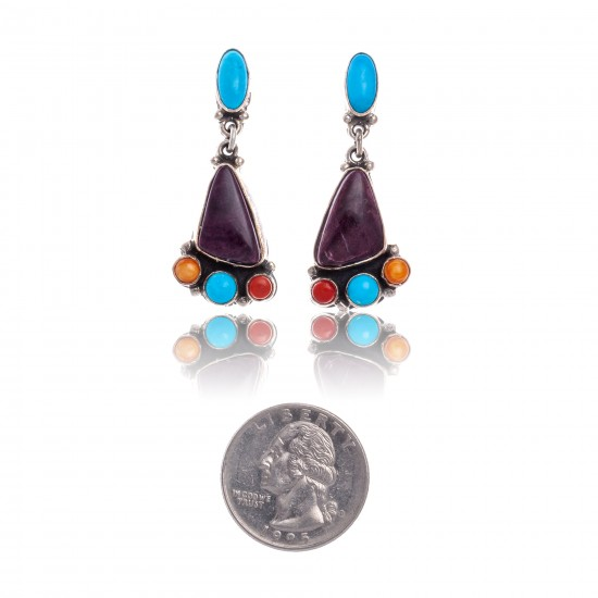 Natural Turquoise Multicolor Stone .925 Sterling Silver Certified Authentic Navajo Native American Handmade Post Earrings  18319-1 All Products NB181016201911 18319-1 (by LomaSiiva)