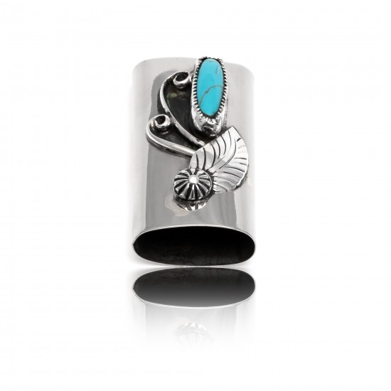 Natural Turquoise .925 Sterling Silver and Nickel Certified Authentic Navajo Native American Handmade Flower Leaf Lighter Case 18334 Lighter Cases NB151216230322 18334 (by LomaSiiva)