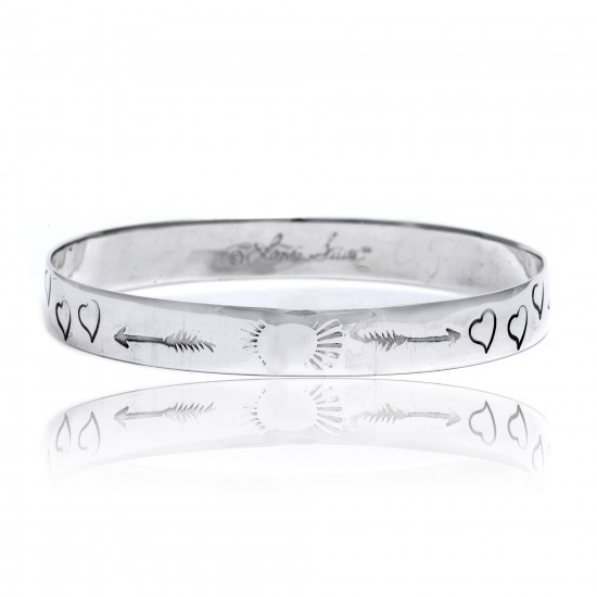 Heart Arrow Feather Sun .925 Sterling Silver Certified Authentic Hopi Handmade Native American Bangle Bracelet 22215 All Products 391008126410 22215 (by LomaSiiva)