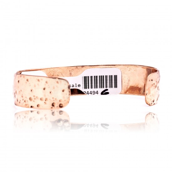 Natural Turquoise and Hammered Copper Certified Authentic Navajo Native American Handmade Cuff Bracelet 24494-6 All Products NB160401215704 24494-6 (by LomaSiiva)