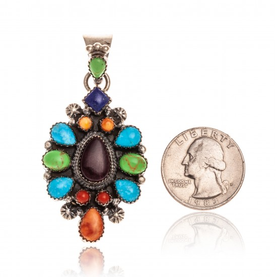 Natural Turquoise Multicolor Stone .925 Starling Silver Certified Authentic Navajo Native American Handmade Pendant 24522 Pendants NB181016204260 24522 (by LomaSiiva)