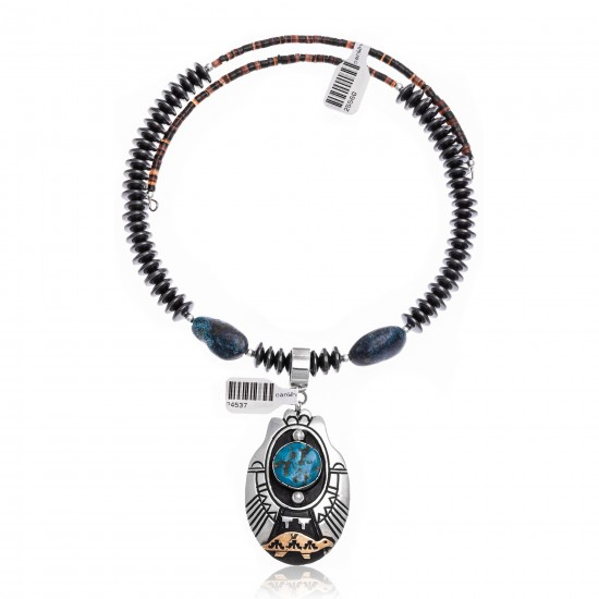 Turtle Natural Turquoise and Hematite .925 Sterling Silver Certified Authentic Navajo Native American Handmade Necklace and Pendant 24537-25560 All Products NB181212215737 24537-25560 (by LomaSiiva)