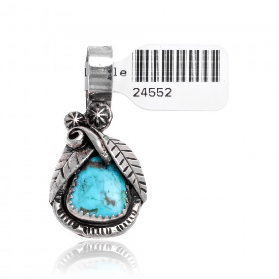 Natural Turquoise .925 Sterling Silver Certified Authentic Navajo Native American Handmade Pendant 24552 Pendants 371016874341 24552 (by LomaSiiva)
