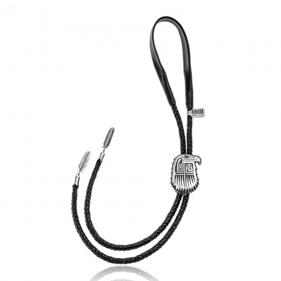 Eagle Head .925 Sterling Silver Certified Authentic Handmade Hopi Native American Bolo Tie 24554 All Products NB180620190516 24554 (by LomaSiiva)