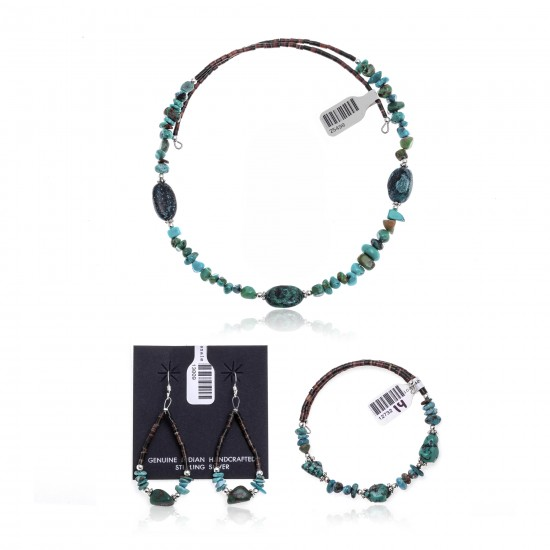 Natural Turquoise Certified Authentic Navajo Native American Adjustable Bracelet Choker Necklace and Dangle Earrings Set 25498-12732-14-13009 Sets NB181207223251 25498-12732-14-13009 (by LomaSiiva)