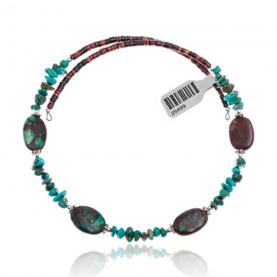 Natural Turquoise Certified Authentic Navajo Native American Adjustable 4 Stone Choker Wrap Necklace 25499 All Products NB180926223227 25499 (by LomaSiiva)