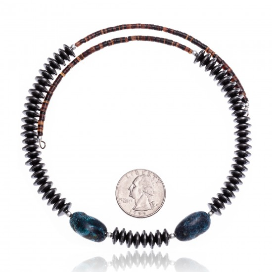 Natural Turquoise and Hematite Certified Authentic Navajo Native American Adjustable Choker Wrap Necklace and Chain 25560 All Products NB180926223231 25560 (by LomaSiiva)