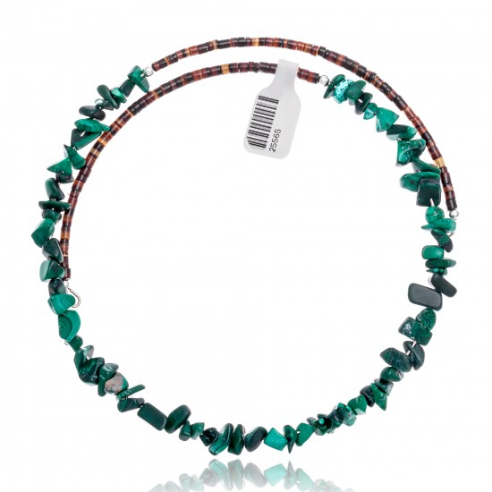 Malachite Certified Authentic Navajo Native American Adjustable Choker Wrap Necklace 25565 All Products NB180926223240 25565 (by LomaSiiva)