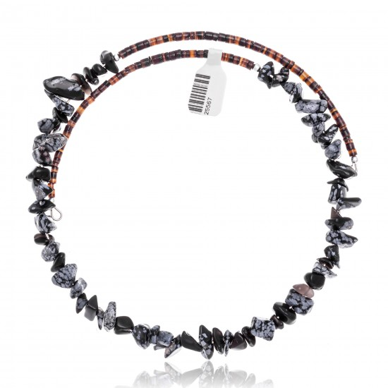Snowflake Obsidian Certified Authentic Navajo Native American Adjustable Choker Wrap Necklace 25567 All Products NB180926223237 25567 (by LomaSiiva)