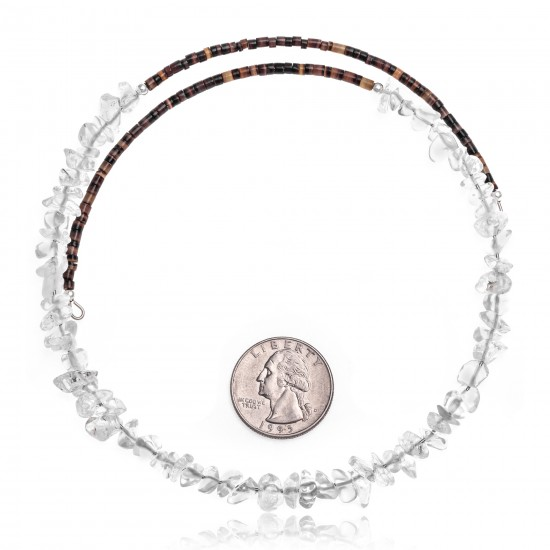 Clear Quartz Certified Authentic Navajo Native American Adjustable Choker Wrap Necklace 25569 All Products NB180926223241 25569 (by LomaSiiva)