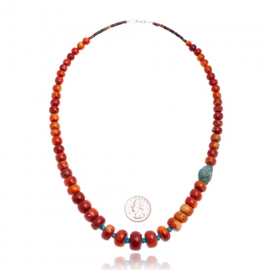Limited Edition Natural Turquoise and Apple Sponge Coral .925 Sterling Silver Certified Authentic Navajo Native American Necklace 25570 All Products NB160108003820 25570 (by LomaSiiva)